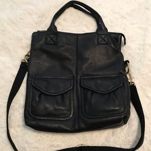Fossil Black Leather Crossbody Fold Over Bag